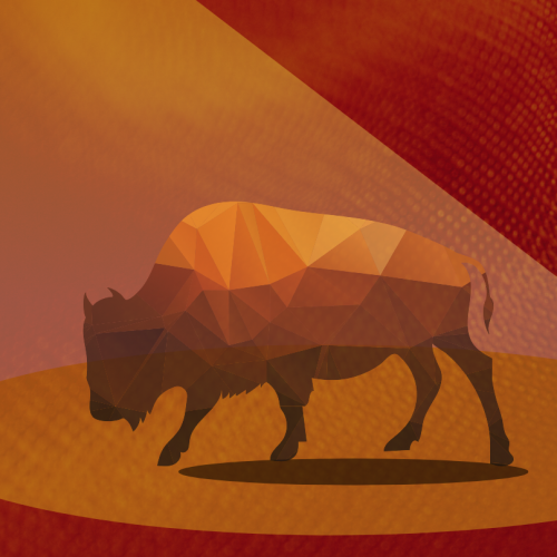Bull standing in spotlight on red textured background