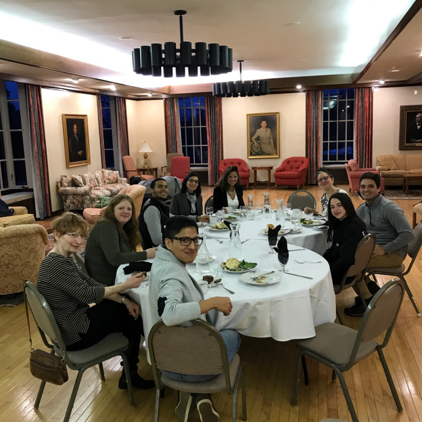 Group of students and professors of the Spanish Department at Hamilton College welcome professor Kim Potowski